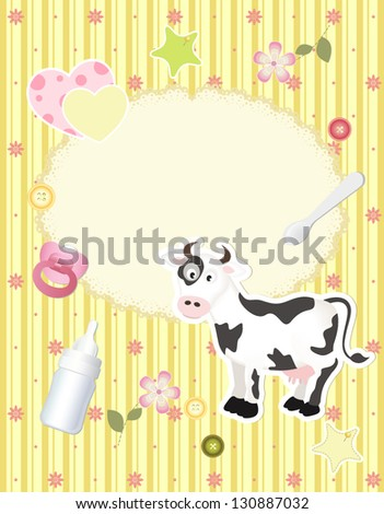 vector baby card with scrapbook elements and cartoon cow - stock vector