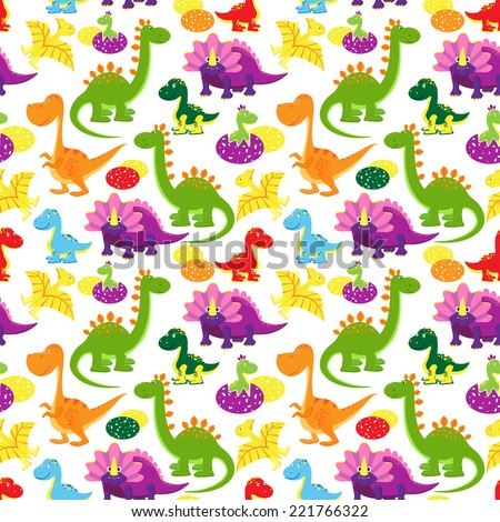 vector baby dinosaurs seamless pattern, kids background - stock vector