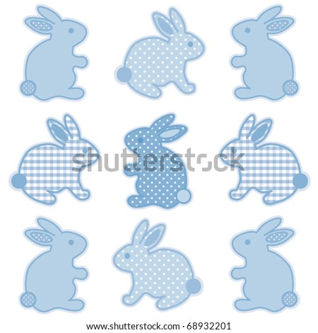 vector - Baby Easter Bunnies. Nine little bunny rabbits in pastel blue gingham check & polka dots for baby books, scrapbooks, albums, holidays. EPS8 compatible. - stock vector