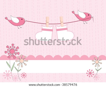 vector baby girl arrival announcement card