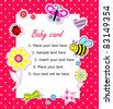 Vector baby girl card with scrapbook elements - stock photo