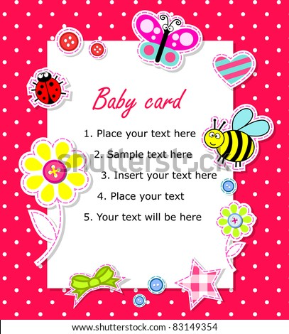 Vector baby girl card with scrapbook elements - stock vector