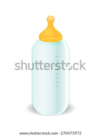Vector: Baby milk in bottle. - stock vector