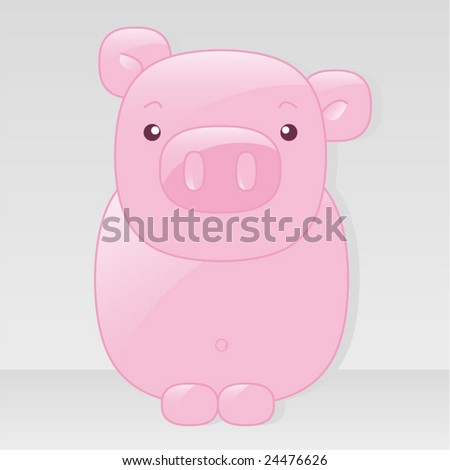 Vector baby pink pastel colored pig with reflex - front