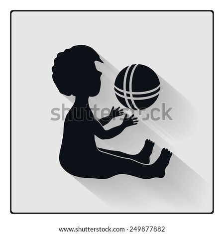 Vector baby playing with ball, child black silhouette with shadow icon - stock vector