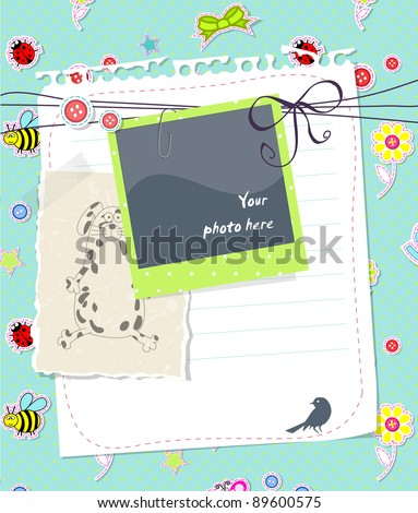 Vector baby scrapbook card with photo frame - stock vector