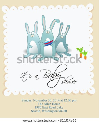 Vector baby shower card for boy - stock vector