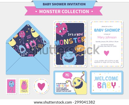 Vector baby shower set (invitations, cards, envelope, stamp, sticker). Monster collection. - stock vector
