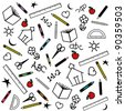 vector - Back to School Background. Chalk drawings of apples, schoolhouses, books, rulers, pencils, pens, markers, protractors, crayons, scissors, ABCs, math grade school doodles. EPS8 compatible. - stock vector