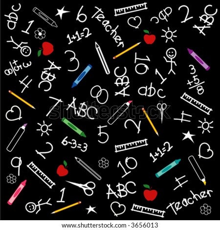 vector BACK TO SCHOOL Blackboard. Chalk drawings, crayons,markers,rulers,protractors,books,pencils,scissors,ABCs, schoolhouse apples for the teacher. EPS8 compatible; in layers for easy editing. - stock vector