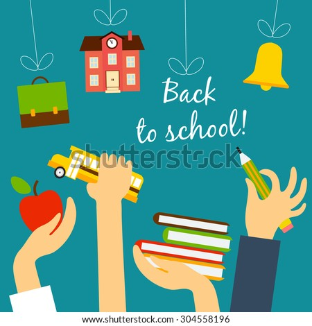 Vector back to school concept in flat style. Hands students hold objects on school subjects and are drawn to threads with educational facilities - stock vector