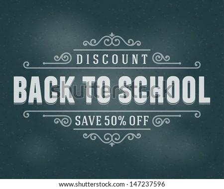 Vector back to school sale design element. Flourishes calligraphic.  - stock vector