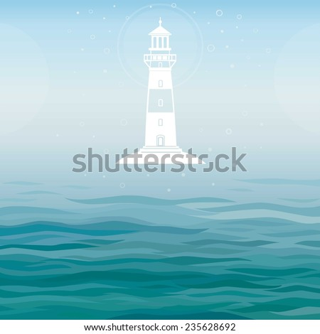 Vector background: a white symbol the Beacon, with a place for the text. - stock vector