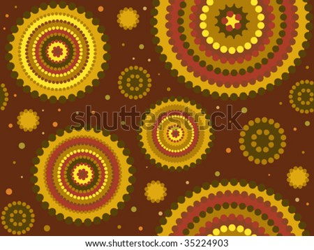 Vector background aboriginal style symbolic design in warm colors. - stock vector