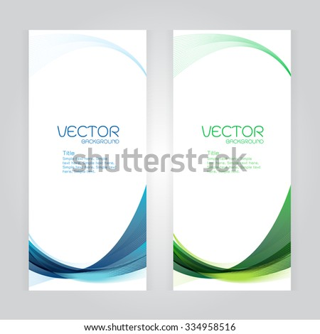 vector background Abstract header blue green wave whit vector design on gray - stock vector