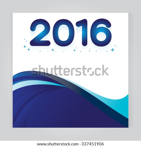 vector background Abstract 2016 header colorful Blue wave whit vector design on gray background - stock vector