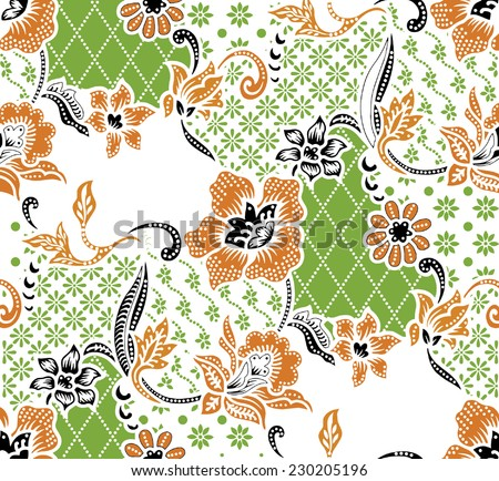 Vector background.Batik design. - stock vector