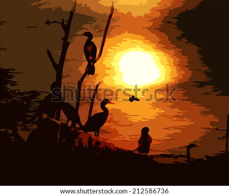 Vector Background. Birds at Sunset Painting style. - stock vector