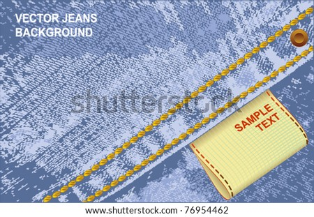 Vector background blank jeans label - stock vector