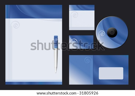 Vector background (Blue Spiral) for letterhead, pen, business card; notepaper; cover CD, envelope.