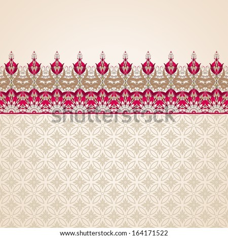 Vector background. Border with floral vintage pattern. Beautiful flowers with leaves and berries. Seamless simple delicate ornament. - stock vector