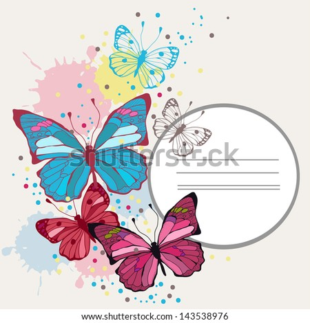 Vector background butterflies and flowers