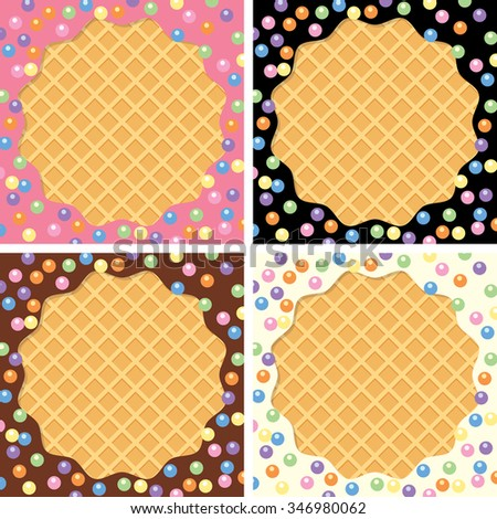 vector background collection of wafer and cream with sprinkles  - stock vector