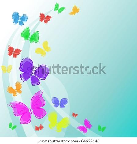 Vector background colorful butterflies  in sky - stock vector