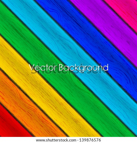 Vector background - colorful wood texture - stock vector