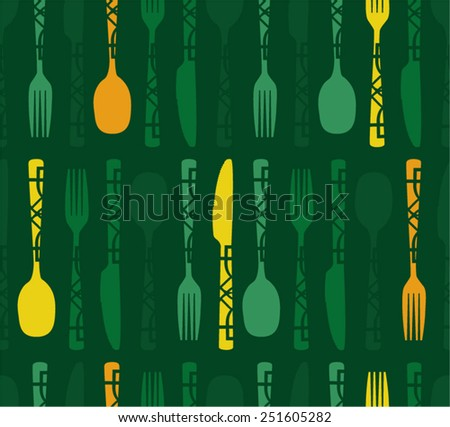 Vector background decorated with folk cutlery - stock vector