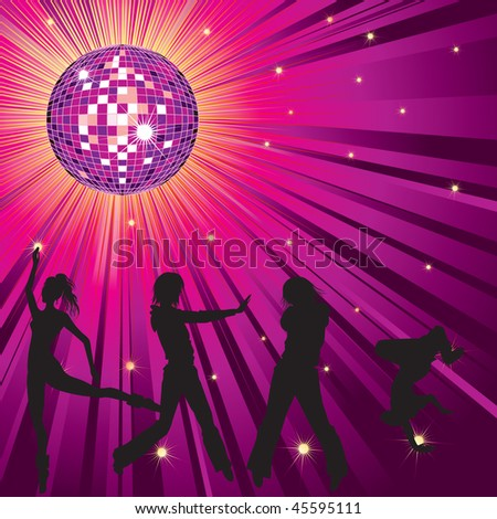 Vector background - design with dancing people, disco-ball and glitters