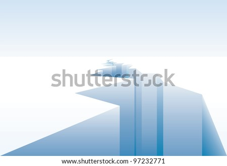 vector background for global warming with ice crack - stock vector