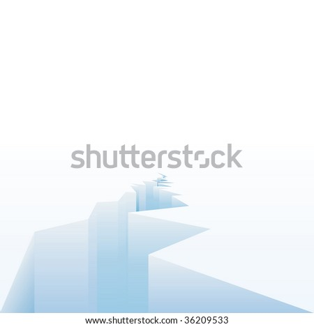 vector background for global warming with melting ice - stock vector
