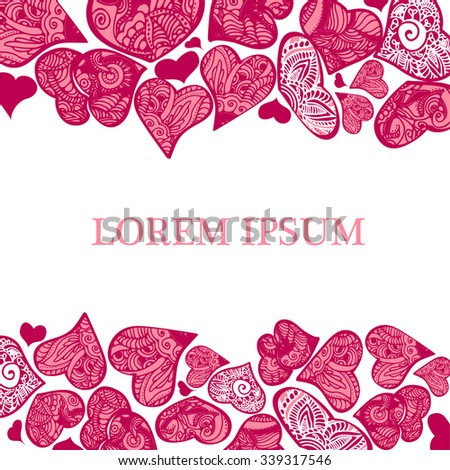 vector background  for happy valentines day and wedding in mehndi style - stock vector
