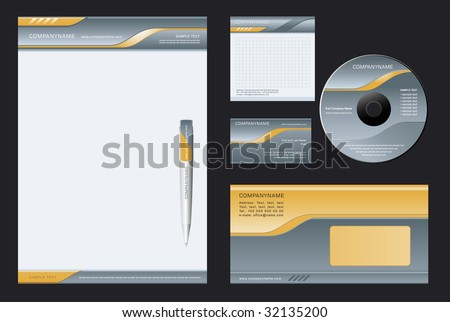 Vector background for  letter-head, pen, business card; note-paper; cover CD, envelope. - stock vector