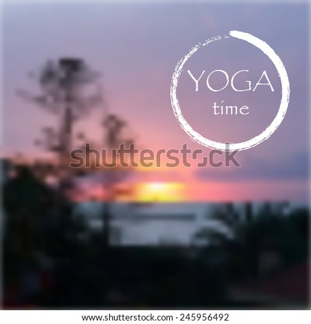 Vector background for yoga studio with sunset sky - stock vector