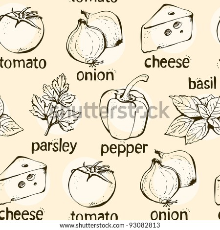 Vector background from pizza ingredients onion pepper parsley cheese tomato and basil - stock vector