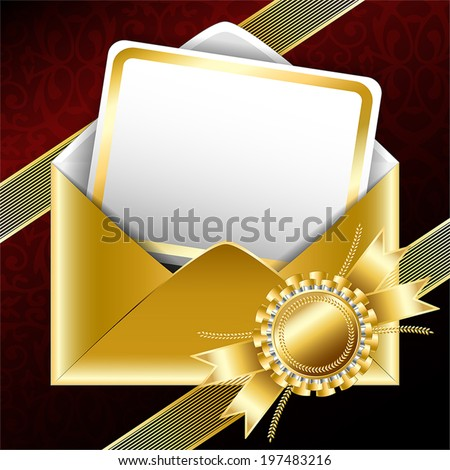 Vector background. Golden gift envelope with text card, bands and a ribbon.  - stock vector