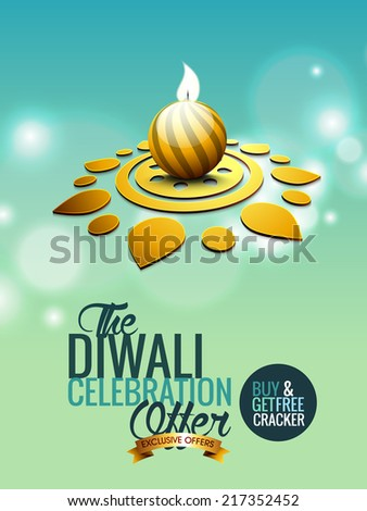 Vector background greeting card or Flyer, Brochure for diwali festival can be used for print and publishing. - stock vector