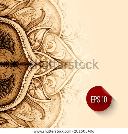 Vector background. Hand drawn abstract background. Decorative retro banner. Card or invitation. Vintage decorative elements. Floral ornament. Islam, arabic, indian, ottoman motifs. - stock vector