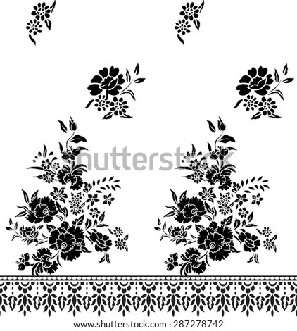 Vector background,hand drawn, pattern with beautiful black flower design for fabric.