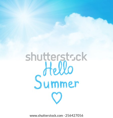 Vector background,hello summer, sun over clouds - stock vector