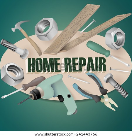 Vector background illustration for home repair logo or advirtisement. Realistic tools.  - stock vector