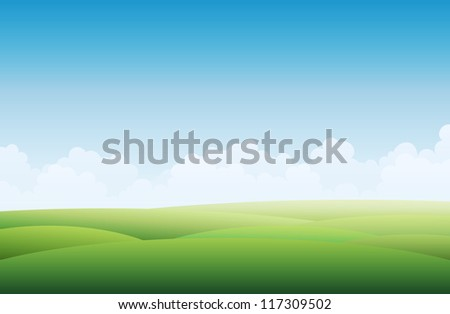 Vector background illustration of a empty green landscape with blue sky. - stock vector