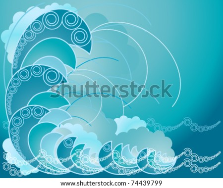 vector background illustration of abstract ocean waves in shades of blue eps 10 format