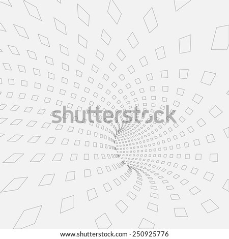 Vector background. Illustration of abstract tunnel with squares. Pattern and texture design for banner, poster, flyer, card, postcard, cover, wallpaper, brochure. - stock vector