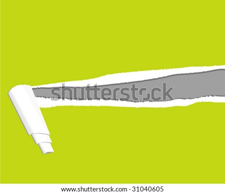 vector background illustration:ripped paper(green) - stock vector