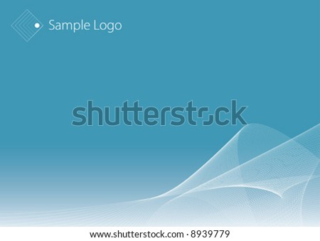 Vector background illustration with slick flowing lined pattern and room for design elements. Copy space. Logo sample in the corner. - stock vector