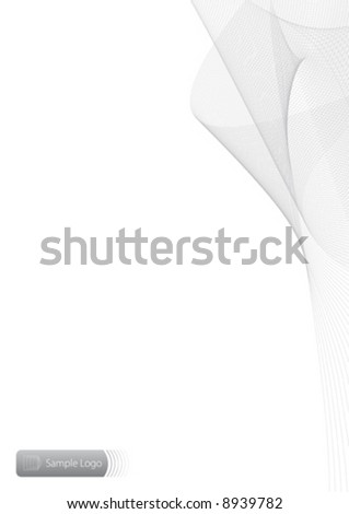 Vector background illustration with slick flowing lined pattern and room for design elements. Copy space. Sample logo in the bottom left corner. - stock vector