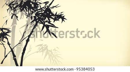 Vector background in oriental style. Ink sketch of bamboo branches - stock vector